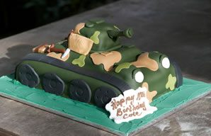Mini paintball party birthday cake!