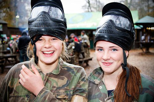 happy girls - Paintball party for kids