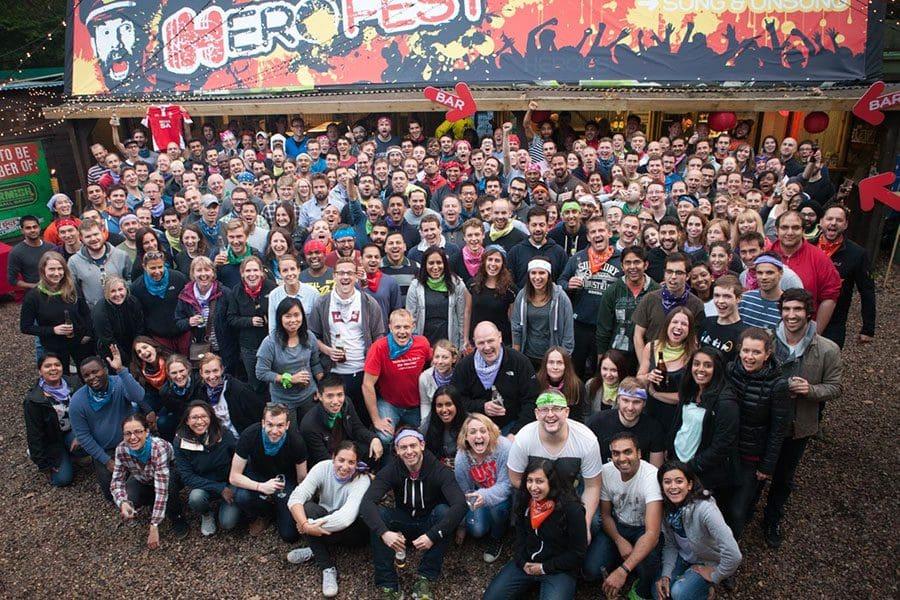 Corporate event company team photo